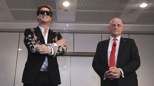 Milo Yiannopoulos, seen here with former senator David Leyonhjelm, is a notorious right-wing troll.