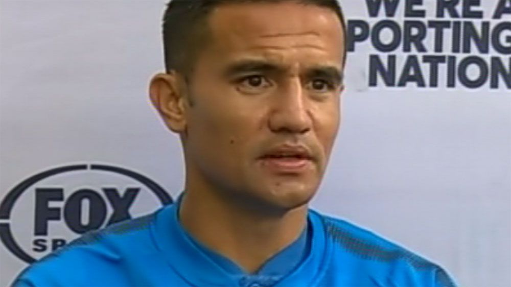 Tim Cahill slaps down reporter over questions regarding Socceroos coach Ange Postecoglou's future