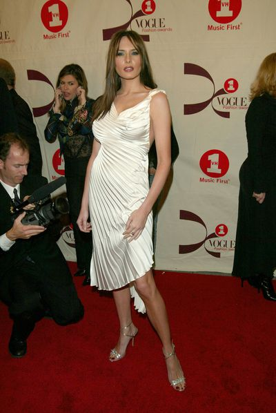 Melania arriving at the 2002 VH1 Vogue Fashion Awards at Radio City Music Hall in New York City, October 15, 2002.