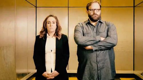"""In the trailer from Tonightly With Tom Ballard, two journalists uncover a government conspiracy around the name """"Ferry McFerryface"""". (ABC)"""