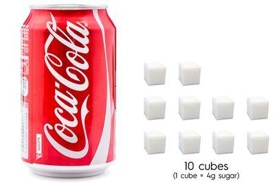 Coca-Cola: 39.8g sugar per 375ml can
