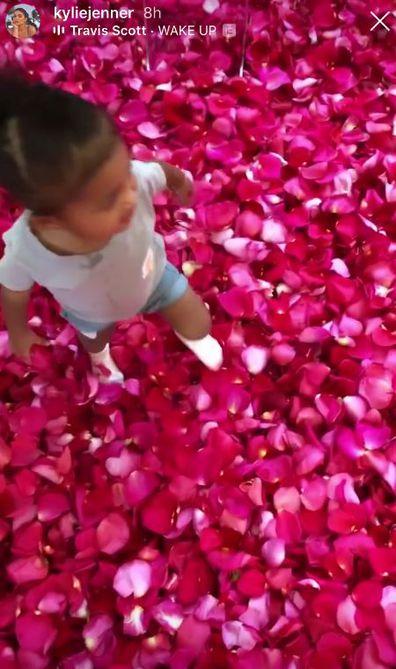 Travis Scott, surprise, roses, flowers, Kylie Jenner, birthday, daughter Stormi