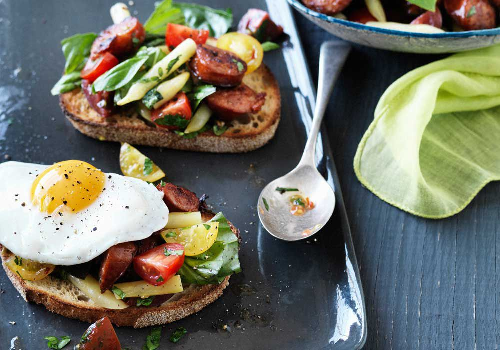 Hayden Quinn's tomato breakfast salad with chorizo, herbs, eggs and toast