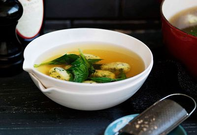 Spinach and ricotta dumplings in broth