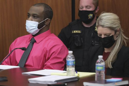 Nathaniel Rowland sits with his attorney, Alicia Goode during closing arguments during his trial on Tuesday July 27, 2021 in Richland County Circuit Court. Rowland is accused of killing Samantha Josephson after luring her into his car.
