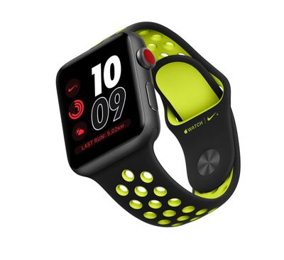 """<a href=""""https://www.apple.com/watch/"""" target=""""_blank"""" draggable=""""false"""">Nike Apple Watch, from $469.</a>&nbsp;The new Apple watch with a new breathable band."""