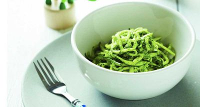 """Recipe: <a href=""""http://kitchen.nine.com.au/2016/07/11/10/20/110716-zoodles-with-dinosaur-sauce"""" target=""""_top"""">Charlotte Carr's zucchini noodles with dinosaur sauce</a>"""