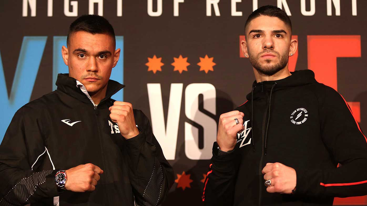 Boxers Tim Tszyu and Michael Zerafa face off at a press conference at The Star Casino.