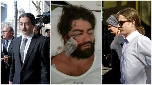 Brent Moresco and Bradley Elmore-Jeffries have been jailed over the attack on Elliot Harvey (centre).