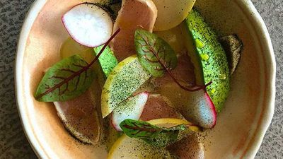"Recipe: <a href=""https://kitchen.nine.com.au/2016/05/05/09/56/matt-morans-seared-kingfish-with-radish-avocado-and-wasabi"" target=""_top"">Matt Moran's seared kingfish with radish, avocado and wasabi</a>"