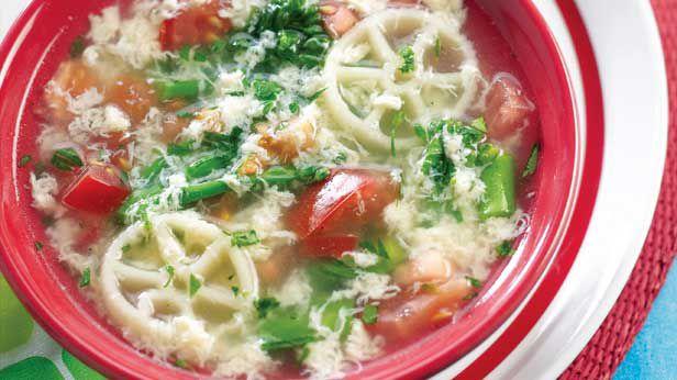 Egg, ribbon and vegie soup