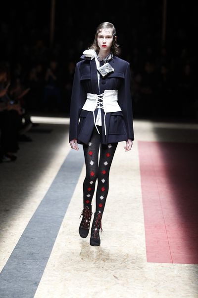 """""""It's useful to look back to the different characteristic moments, difficulties, love, no love, pain, happiness, different kinds of women: sexy, boring, traveler. So this was the main concept,"""" said Miuccia Prada of Prada's standout collection."""