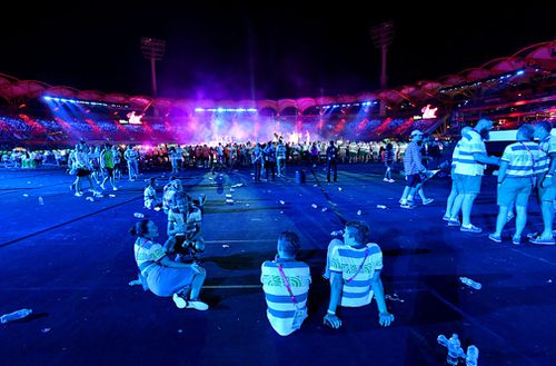 Many athletes left during the ceremony to return to the village. (AAP)