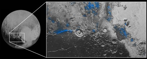 This 2015 image shows Pluto's regions with exposed water ice highlighted in blue in this composite image taken with the New Horizons spacecraft's Ralph instrument. (NASA).