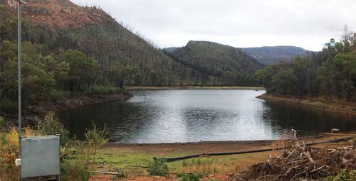 The Timor Dam, which supplies Coonabarabran with its water, pictured back in 2016 when the water level was higher. (Photo: Warrumbungle Shire Council)