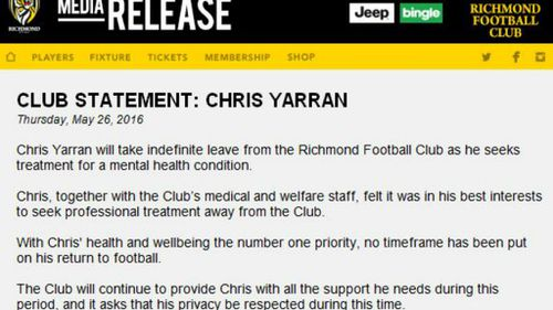 The statement from the club. (Richmond Football Club)