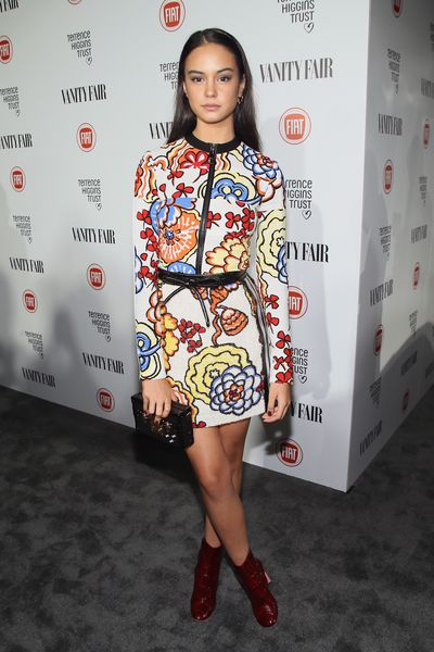 <p>The actress wears Louis Vuitton Resort 2015 at the 'Vanity Fair' celebration of Young Hollywood in February.</p>