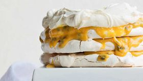 Meringue stack with passionfruit curd