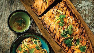 "Recipe: <a href=""https://kitchen.nine.com.au/2017/02/16/22/12/chargrilled-salmon-with-hot-and-sour-dressing-and-pickled-vegetable-salad"" target=""_top"">Chargrilled salmon with hot and sour dressing and pickled vegetable salad</a>"