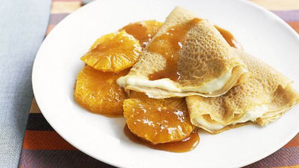 Crepes with honeyed oranges