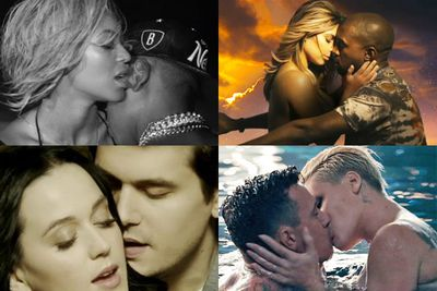 "Topless Kim straddling Kanye in 'Bound 2', Timomatic pashing girlfriend Talia in 'Parachute' and now Beyonce and Jay Z frolicking on the beach in 'Drunk in Love' and Katy Perry and John Mayer mounting a mechanical bull for 'Who You Love'.<br/><br/>TheFIX has split the next seven clips into roughly two categories: The Sickly Sweet and The Smokin' Hot. Here goes nuthin'!<br/><br/>Author: Adam Bub <b><a target=""_blank"" href=""http://twitter.com/TheAdamBub"">Twitter: @TheAdamBub</a></b>"