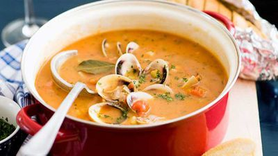 "Recipe:&nbsp;<a href=""http://kitchen.nine.com.au/2016/05/16/13/51/manhattan-clam-chowder"" target=""_top"">Manhattan clam chowder</a>"