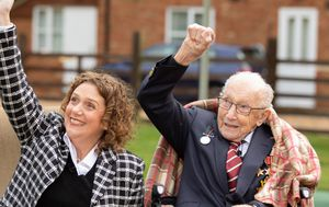 Fundraising hero Captain Tom Moore watches 100th birthday flypast, after special promotion