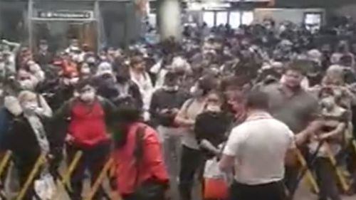 There are huge crowds at train stations across western Sydney, including Parramatta.