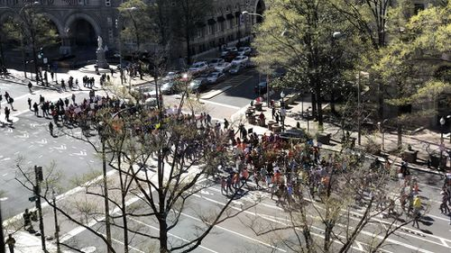 Students march during a national walkout in Washington, DC on April 20, 2018. (CrowdSpark)