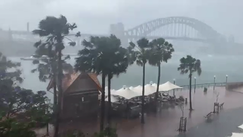 Sydney was lashed with torrential rain and damaging winds while places like Thredbo were hit with a heavy downpour of snow yesterday.