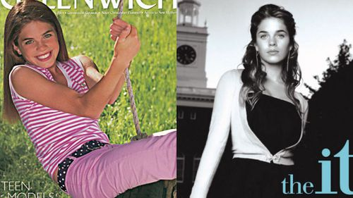 Hope Hicks on the cover of  Greenwich magazine in 2002 and on the cover of novel The It Girl as a teenager. (Supplied)