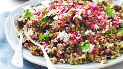 "Recipe: <a href=""https://kitchen.nine.com.au/2018/02/19/12/02/mushroom-and-ancient-grain-salad"" target=""_top"">Mushroom and ancient grain salad</a>"