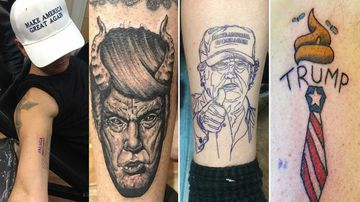 Skin deep: Some Americans are getting tattoos to mark Donald Trump's stunning upset victory.