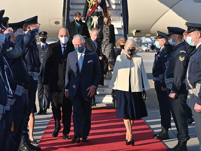 Prince Charles and Camilla arrive in Greece, March