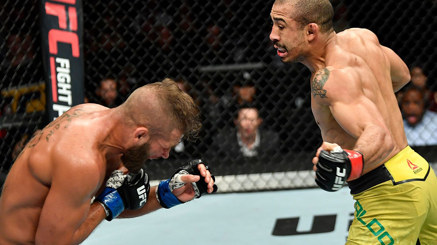 UFC star Jose Aldo Jr scores TKO victory in Calgary with devastating liver punch