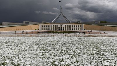 Canberra coated in white