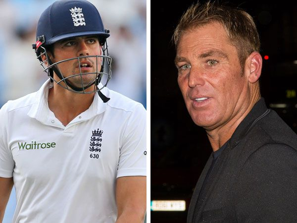 Alastair Cook and Shane Warne. (AAP)