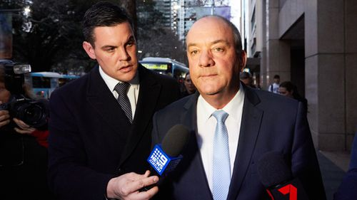 Daryl Maguire (right) leaves the ICAC hearing today. Picture: AAP