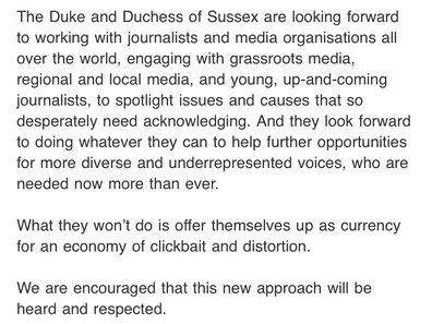 An excerpt of the e-mail sent on behalf of the Duke and Duchess of Sussex.