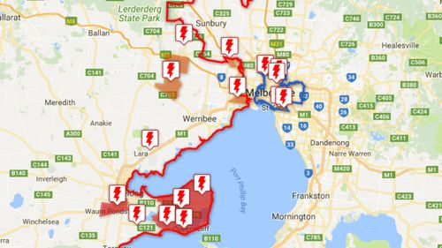 A map of some of the outages overnight. (Powercor.com.au)