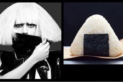 Gaga likes the food theme. We can't pick her apart from rice and seaweed in this pic. <p><b>Image</b>: totallylookslike.com
