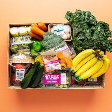 Harris Farm's organic fruit and veg box is $85.00 this week, saving customers $15.
