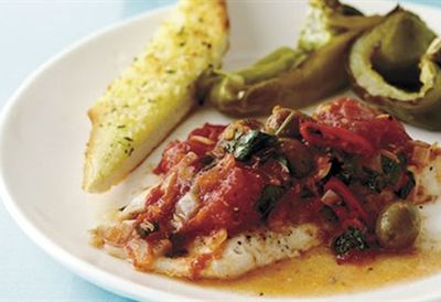"""Recipe:&nbsp;<a href=""""/recipes/ifish/8346919/12-00-baked-fish-with-tomatoes-olives-and-garlic-bread"""">Baked fish with tomatoes, olives and garlic bread</a>"""