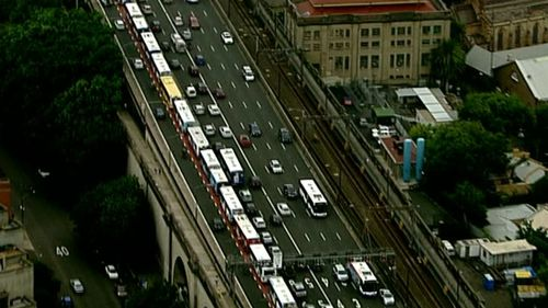 The Transport Management centre has attributed the hold up to CBD roadworks. (9NEWS)