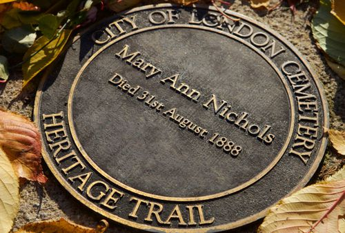 This plaque in east London marks the spot where The Ripper's first victim - Mary Ann Nichols - was murdered.