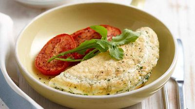 """Recipe: <a href=""""http://kitchen.nine.com.au/2016/05/16/13/32/cheese-and-herb-omelette"""" target=""""_top"""">Cheese and herb omelette</a>"""