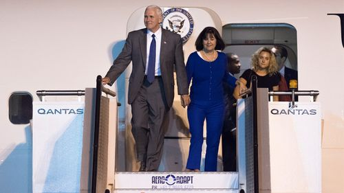 Vice President of the United States Mike Pence and his family, wife Karen Pence and daughter Charlotte Pence arrive at Sydney International Airport. (AAP)
