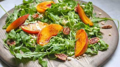 """Try grilling your summer fruits for a salad with a twist with <a href=""""http://kitchen.nine.com.au/2016/11/01/15/38/dan-churchills-charred-summer-peach-barley-salad"""" target=""""_top"""">Dan Churchill's charred summer peach barley salad</a> recipe"""