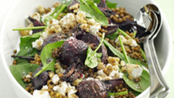 Beetroot, lentil and spinach salad with fetta