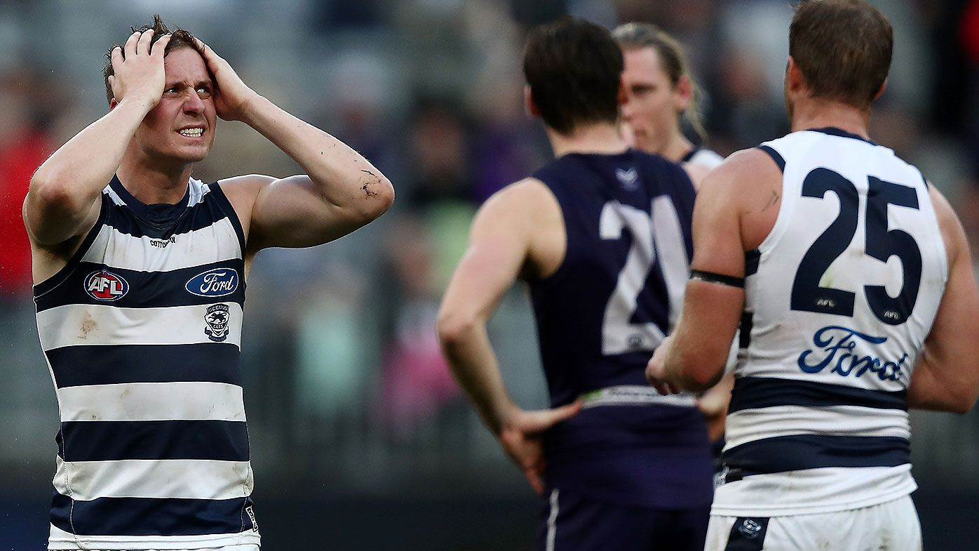 Geelong's post-bye slump lengthens with shock defeat to Fremantle in Perth